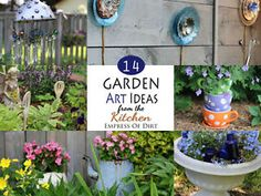 Use unwanted kitchen items to make garden art.