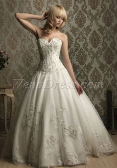 Tulle Ball Gown Sweetheart Sleeveless With Embroidery Chapel Train Wedding Dress