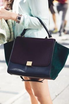 the jewel tones of this celine trapeze bag are the perfect accessory to sweet summery outfits