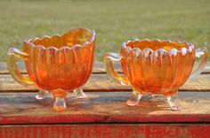 Imperial Carnival Glass, Marigold Pillar and Flute Breakfast Set (Creamer and Sugar) Orange Kitchen, Breakfast Set, Imperial Glass, Cream And Sugar, Carnival Glass, Marigold, Flute, Punch Bowls, Ohio
