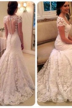 Cap Sleeve White/Ivory Wedding Dress Bridal Gown Custom Size