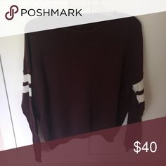 maroon sweater a high neck knit maroon sweater with 2 white stripes on each arm Brandy Melville Sweaters Crew & Scoop Necks