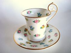 Crescent -  forget-me-not, pansy white porcelain