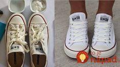 biele tenisky opäť ako nové!Potrebujeme: Jedlú sódu Zubnú kefku Ocot Vodu Špinavé topánky