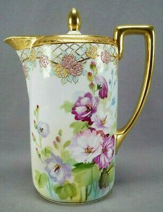Nippon Morimura Pink & Purple Floral Raised Floral Enamel & Gold Chocolate Pot, Beautiful Flowers in Natural Setting. Antique China, Vintage China, Pink And Purple Flowers, China Porcelain, Painted Porcelain, Chocolate Pots, Japanese Chocolate, Teapots And Cups, Vintage Dishes