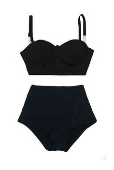 Black Block Midkini Top and High Waisted Waist Rise by venderstore