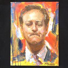 "Palette Knife Portrait ""Brexit -David Cameron 2016"" By Johanna Spinks  www.johannaspinks.com"