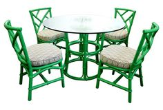 Ficks Reed  Glass-Top Table & 4 Chairs