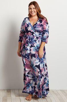 b7df0e3d4f13 Maternity Floral Draped 3/4 Sleeve Plus Size Maxi Dress #ad,plus ...