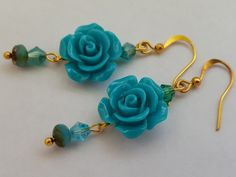 Something Blue! Boho chic blue rose earrings - Christmas gift, Bridesmaid gifts…