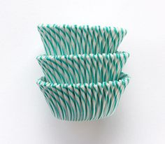 Turquoise Green Striped Cupcake Liners