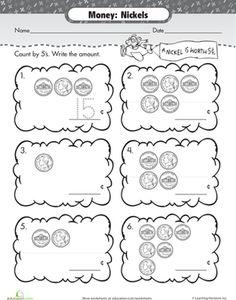 Worksheet Money Worksheets First Grade money worksheets and coins on pinterest first grade match nickels