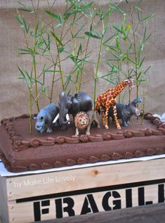 Jungle Safari Animals Birthday Party Cake