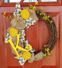 Yellow  Grey Chevon Twig/Grapevine Spring by WreathAddictionbyT
