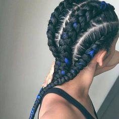 black and blue cornrows, afro hairstyle Ghana Braids Hairstyles, Down Hairstyles, Braided Hairstyles, Hair Colorful, Curly Hair Styles, Natural Hair Styles, Hair Laid, Goddess Braids, Big Chop