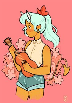 A ukelele girl I stayed up too late drawing. Not that I need to stay up late to draw ukelele girls.