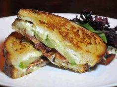 Grilled Brie and Goat Cheese with Bacon and Green Tomatoes from CookingChannelTV.com