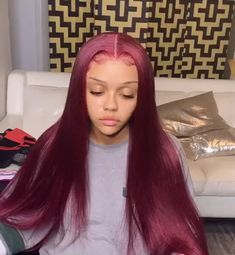 When the Christmas is coming💕💕 You need a luxury ruby red glueless lace unit like that😍😍 It's so bomb, right🔥🔥🔥Thriving Hair Pure Burgundy Red Color Raw Virgin Human Hair Smooth Silky Straight Full Lace Wigs For Women Hair Color Purple, Brown Hair Colors, Green Hair, Blue Hair, Red Color, Burgundy Hair Black Girl, Blonde Color, Silky Hair, Smooth Hair