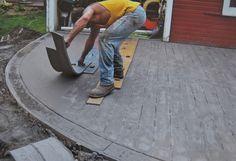 Stamped Concrete Patterns, Stamped Concrete Driveway, Concrete Patio Designs, Cement Patio, Concrete Driveways, Concrete Wood, Stained Concrete, Concrete Floors, Concrete Stamping