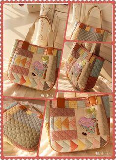 『桃子's手作』萌系手作苏姑娘清新手拎包~(重新配色更嫩哦~~) Patchwork Bags, Quilted Bag, Japanese Bag, Cute Quilts, Pouch, Wallet, Zipper Bags, Pin Cushions, Quilting Designs