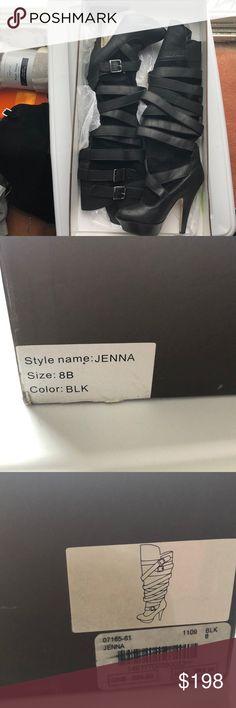 Bebe Jenna Boot size 8 Bebe black Jenna Boot. Strappy. Slightly over the knee. bebe Shoes Heeled Boots