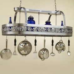 Hi-Lite Leaf Rounded Hanging Pot Rack with 2 Lights Accent Finish: None, Copper Insert: No, Base Finish: Powder Coat Rust