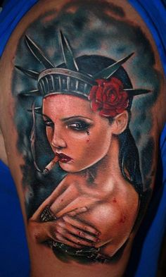 Statue of Liberty Pin Up Tattoo | Tattoo's by Richie Streate 2 ...