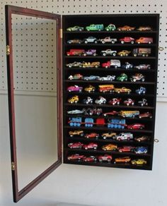 Hot Wheels 1:64 Matchbox Car Display Case Cabinet Wall Rack, Kid-Safe Door #HotWheels