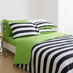 Ulando 全棉黑白条纹被套四件套 纯棉家纺床上用品 素色床单 特价-淘宝网