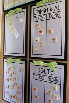 "Simple Chore Chart with Magnetic White Boards. Like the concept of moving magnets from ""To DO"" side to ""Done"" side. Toddlers will rearrange everyone's magnets though...hmmm"