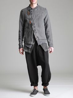 ASYMMETRIC RUSTIC COTTON-LINEN JACKET WITH LEATHER DETAILS AND JERSEY CUFFS AND BOTTOM