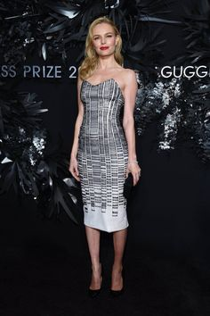 Kate Bosworth is wearing a Hugo Boss dress, Kurt Geiger heels, a Rauwolf clutch, and Harry Winston jewels at the 2014 Hugo Boss Prize, Guggenheim Museum on Thursday evening (November 20) in New York City