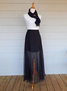 Vintage Long Black Sheer Skirt Size 7-8 27  Waist by FairfaxDavis