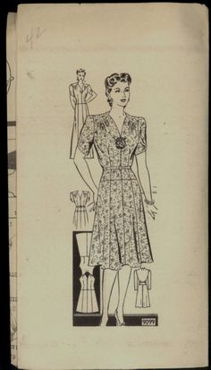 Uncut 1930s 1940s Size 42 Bust 42 One Piece Dress Marian Martin 9099 Vintage Sewing Pattern 30s 40s Mail Order Plus Special Occasion