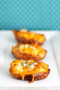 Buffalo Chicken Stuffed Potato Skins | bsinthekitchen.com #buffalochicken #appetizer #bsinthekitchen