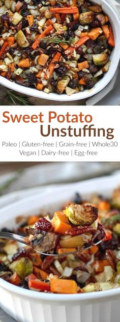 Gluten-Free Sweet Potato Unstuffing makes for a crowd-pleasing Thanksgiving side-dish or a tasty addition to your weeknight menu. It has the flavors of stuffing but without the bread. It's loaded with a variety of veggies and studded with the perfect amount of dried cherries, apples, pecans, and fresh herbs. The ingredients come together to create quite a delicious and healthy stuffing side-dish   Whole30   Paleo   Vegan   therealfoodrds.com