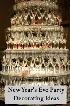I might try a champagne glass tower this year. New Year's Eve Party Decorating Ideas