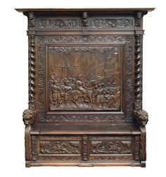 An extraordinary Historismus bench seat with renaissance ornaments    Gdansk, c. 1860/70. Wood, carved, darkened. Figural ornaments: the key of the town is giving to the victorious commander. Pa