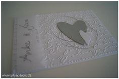 Einladung oder Danksagung zur Hochzeit silber/weiß