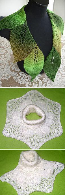 Уютные шарфы и манишки с узором «листья» — Рукоделие