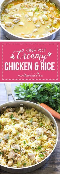 One Pot Creamy Chicken and Rice - an easy healthy dinner recipe made with simple, real ingredients in just one pot.  Perfect for any night of the week! #chickenrecipeshealthyonepan #chickenrecipeshealthyrice