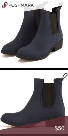 Jeffrey Campbell Navy Ankle Rain Boots Size 8 Navy Ankle Rain boots! In great condition and perfect for Spring! Jeffrey Campbell Shoes Winter & Rain Boots