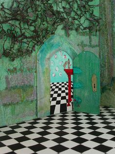 Alice in Wonderland Theatre ~ view to the door leading to the  rabbit hole by Judy Scott, via Flickr  doodle inspiration