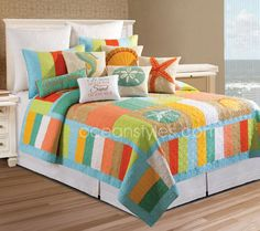 Washed Ashore Bedding - bright and funky color blocked tropical quilt with decidedly island style