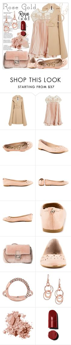"""""""So Pretty: Rose Gold Jewelry"""" by lucky-ruby ❤ liked on Polyvore featuring Gareth Pugh, WithChic, Sam Edelman, Fendi, Michael Kors, Ippolita, Bobbi Brown Cosmetics, Pink, rosegold and nudecolour"""