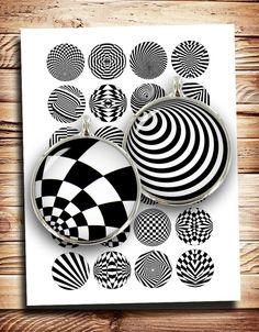 Illusion doptique cercle des images imprimables pour les boutons, fabrication de bijoux, cabochons, boucles doreilles, boutons de manchette et autres objets dartisanat.  Images de cercle ■ en 20 mm, 1 pouce, 1,313 et 1,5 pouces, chaque taille sur un autre collage de feuilles (feuilles