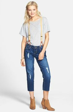 Jolt Destroyed Crop Jeans with braces Suspender Jeans, Spencer Hastings, Cute N Country, Fashion Tv, Pretty Little Liars, Suspenders, Cropped Jeans, Capri Pants, Nordstrom