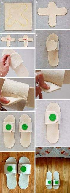 23 Clever DIY Christmas Decoration Ideas By Crafty Panda Fabric Crafts, Sewing Crafts, Sewing Projects, Crochet Shoes, Crochet Slippers, Felt Slippers, Diy Home Crafts, Diy Crafts To Sell, Sewing Slippers