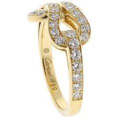 Cartier Diamond Gold Agrafe Ring