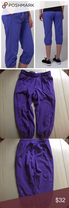 Ivivva by Lululemon Purple Skill Leader Crop Pants PRODUCT DESCRIPTION:  Go from the last bell to the gym in a jiffy with these performance-ready pants at your disposal. They come equipped with a four-way stretch construction to keep pace with your active life.  Features  -Swift Ultra fabric is naturally breathable and features four-way stretch -Coolmax® liner wicks sweat away from your body  Fully lined and in great condition. Color is called iris flower. I am typically a size 4 in…